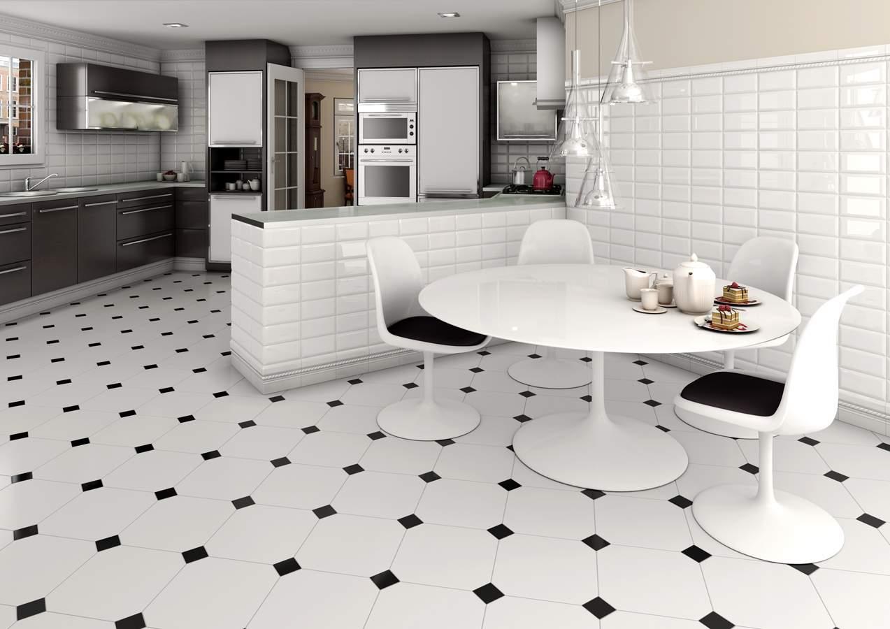 White and black floor tiles