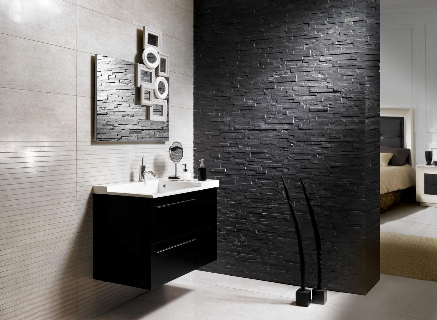 Brick stone cladding for Salle de bain moderne houzz