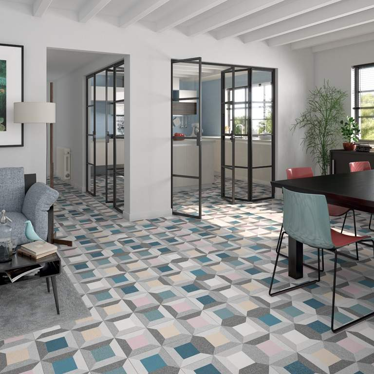multicoloured encaustic tiles at italian tile stone