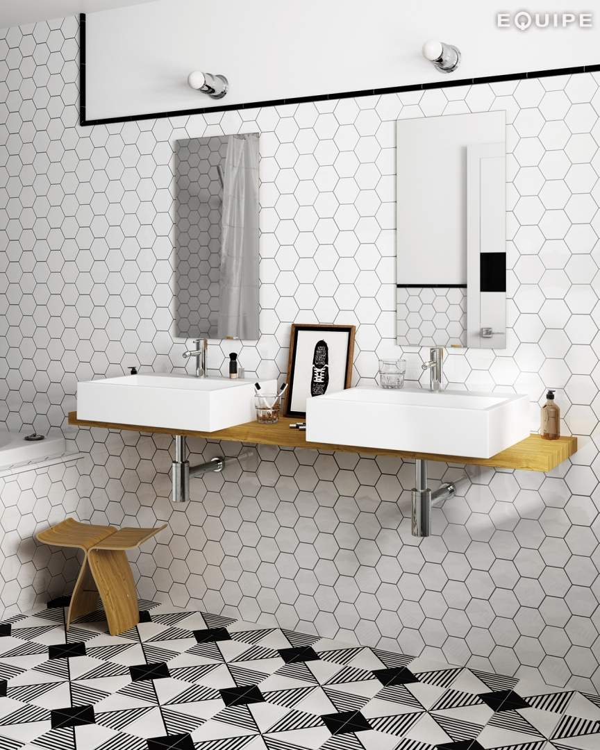 White hexagonal tiles for Carrelage style tomette