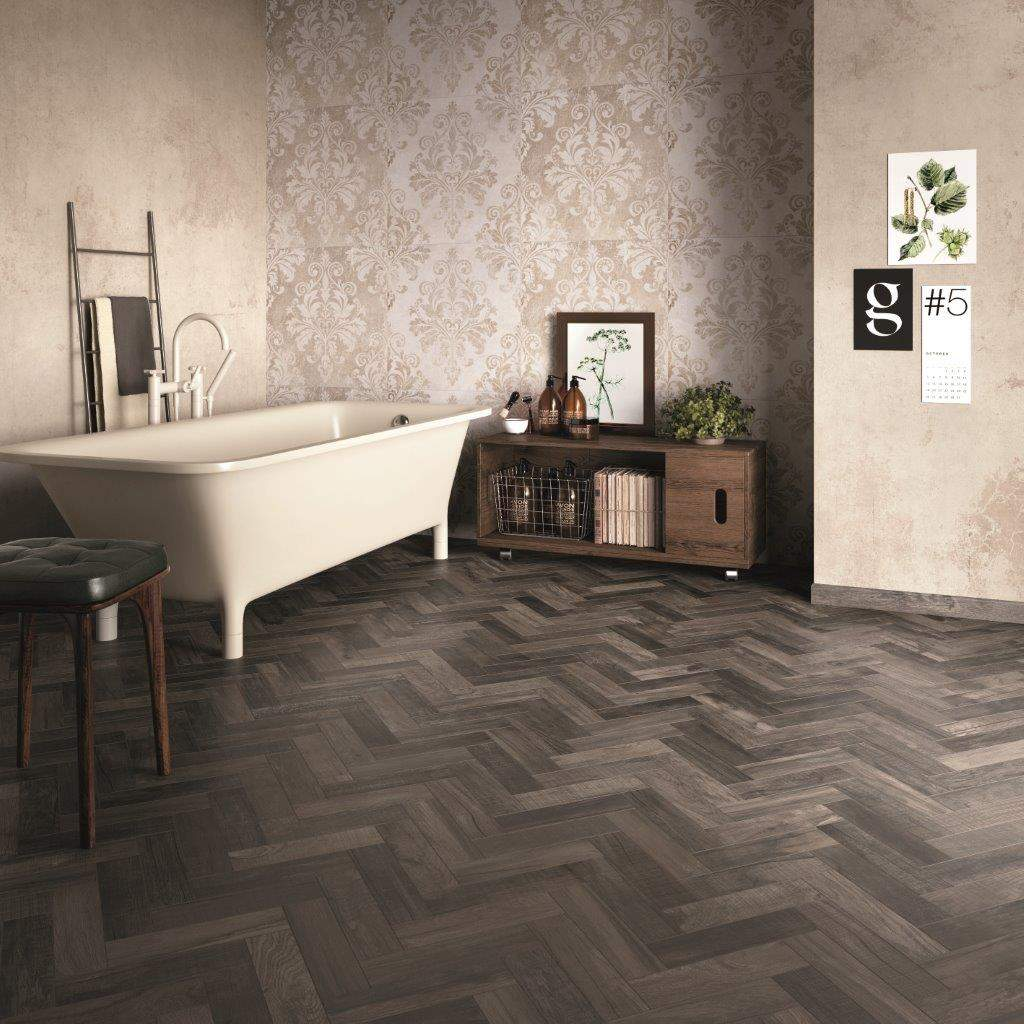 Wood effect flooring for bathrooms - French Parquet Effect Wooden Tiles