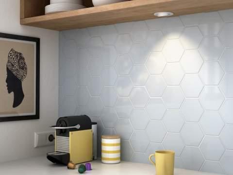 Colourful hexagonal tiles for Dimensional tile backsplash
