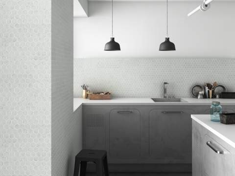 white porcelain tile floor. Hexagonal Carrara White Marble Mosaic Porcelain Tile Floor