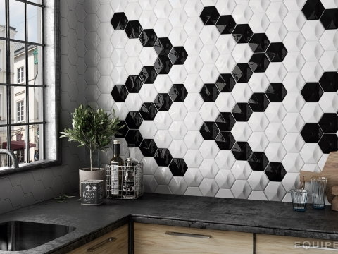 Small Black White Or Grey Hexagon Mosaic Tiles