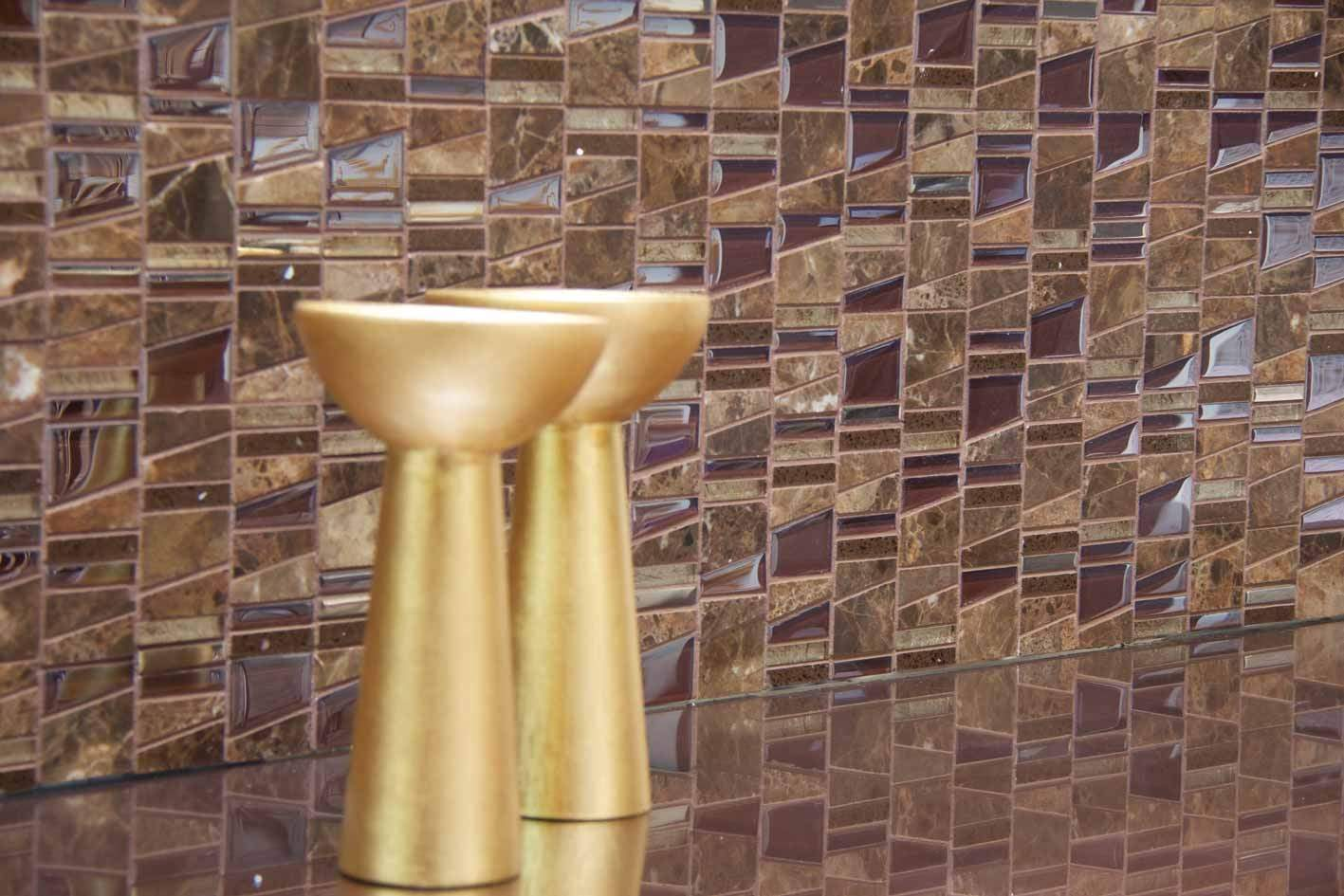 Silver Metal Glass and Stone Mosaic Tiles at Tiles.ie  Dublin