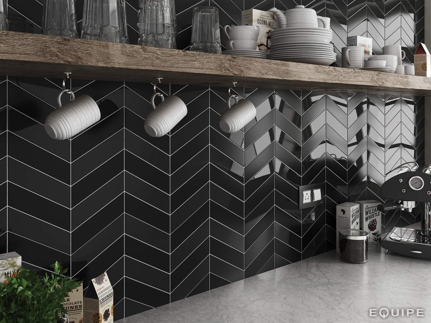 Herringbone Wall Tile Black