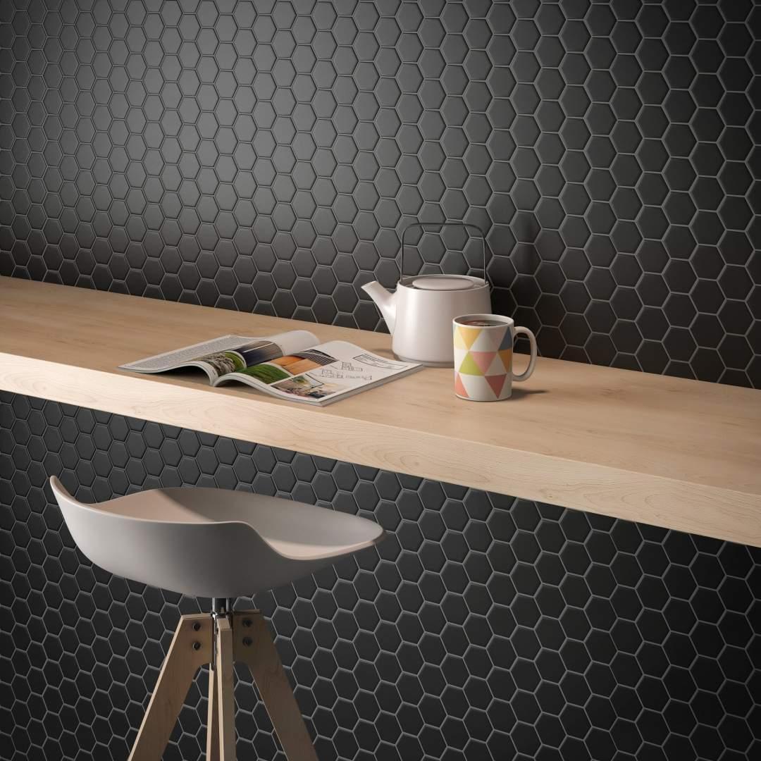 Small Black Hexagon Mosaic Tiles