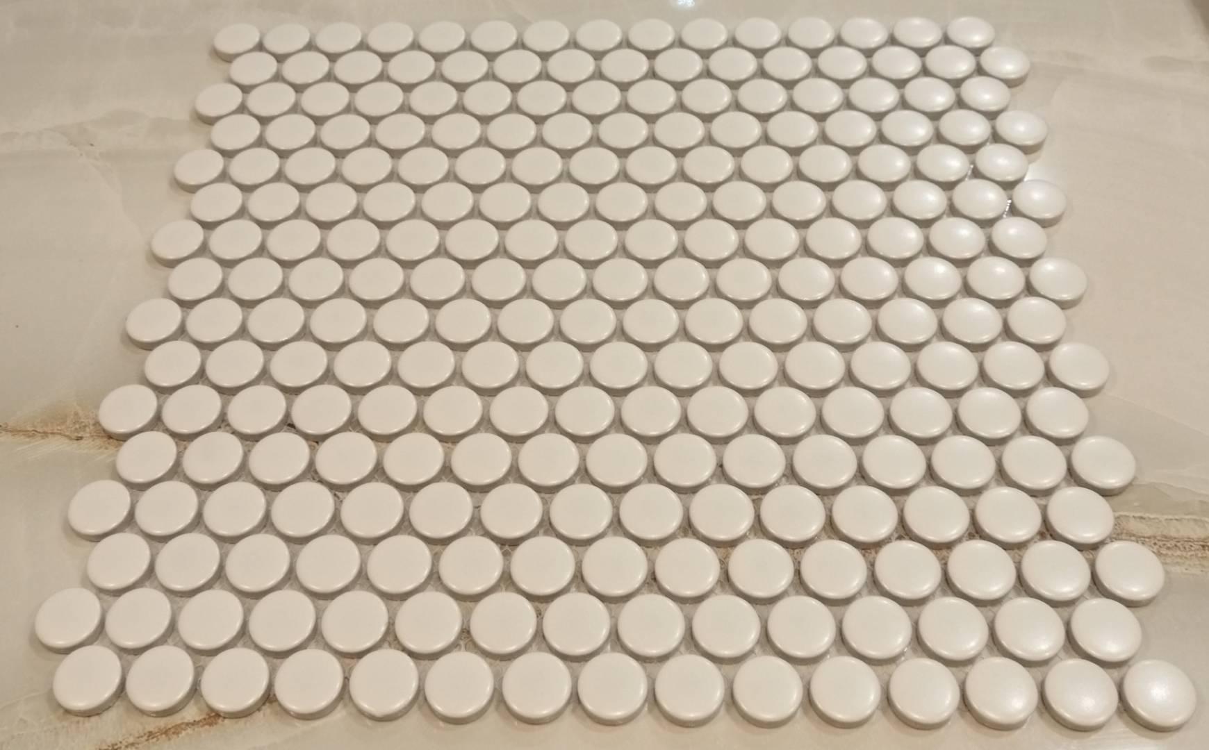 White Penny Round Mosaic Tiles  Ireland Dublin Stock