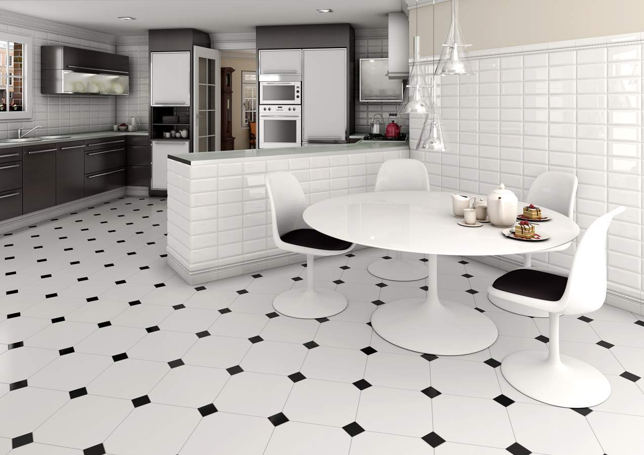 Black and White Tiles Dublin. Octagon White Tiles with Black Insert from Tiles.ie